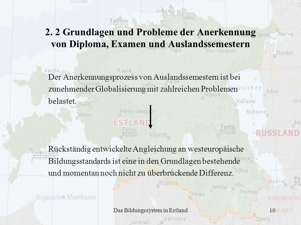 Das Bildungssystem in Estland10 2. 2 Grundlagen und Probleme der Anerkennung von Diploma, Examen und Auslandssemestern Der Anerkennungsprozess von Aus