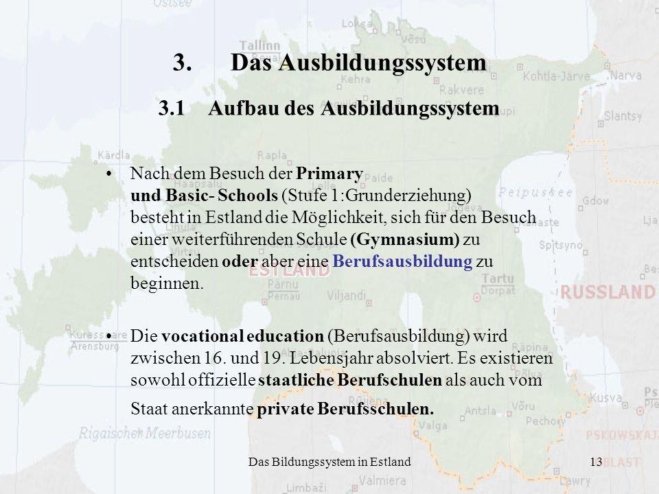 Das Bildungssystem in Estland13 3. Das Ausbildungssystem 3.1 Aufbau des Ausbildungssystem Nach dem Besuch der Primary und Basic- Schools (Stufe 1:Grun