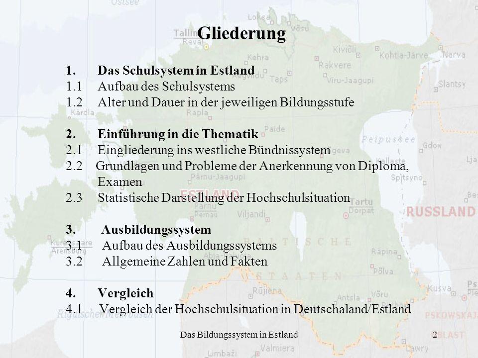 Das Bildungssystem in Estland2 1.Das Schulsystem in Estland 1.1Aufbau des Schulsystems 1.2 Alter und Dauer in der jeweiligen Bildungsstufe 2.Einführun