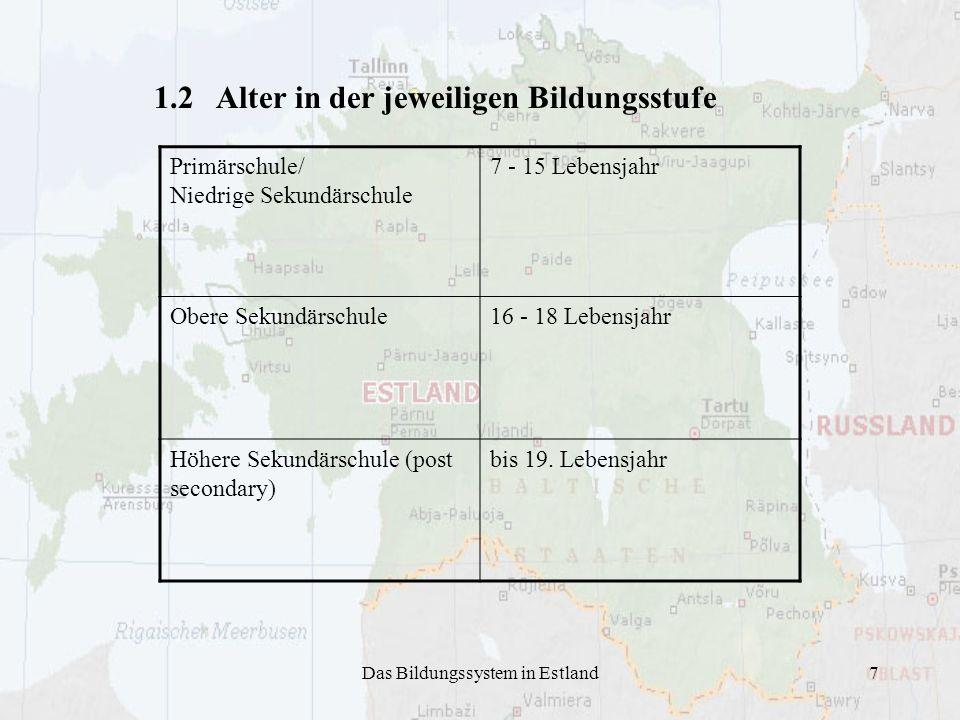 Das Bildungssystem in Estland7 1.2 Alter in der jeweiligen Bildungsstufe Primärschule/ Niedrige Sekundärschule 7 - 15 Lebensjahr Obere Sekundärschule1