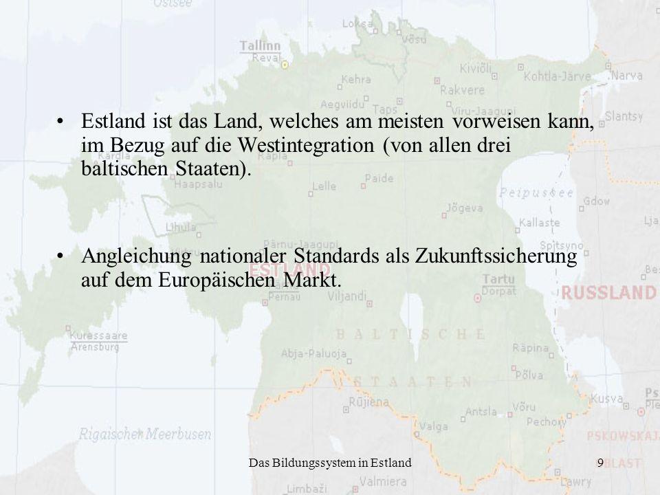 Das Bildungssystem in Estland9 Estland ist das Land, welches am meisten vorweisen kann, im Bezug auf die Westintegration (von allen drei baltischen St