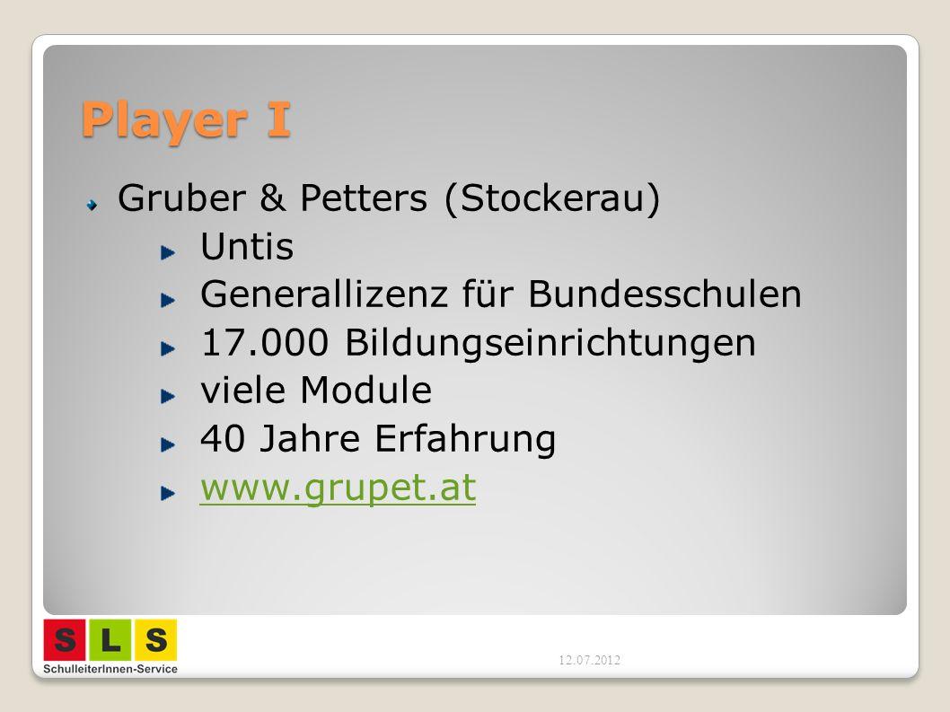 Player I Gruber & Petters (Stockerau) Untis Generallizenz für Bundesschulen 17.000 Bildungseinrichtungen viele Module 40 Jahre Erfahrung www.grupet.at