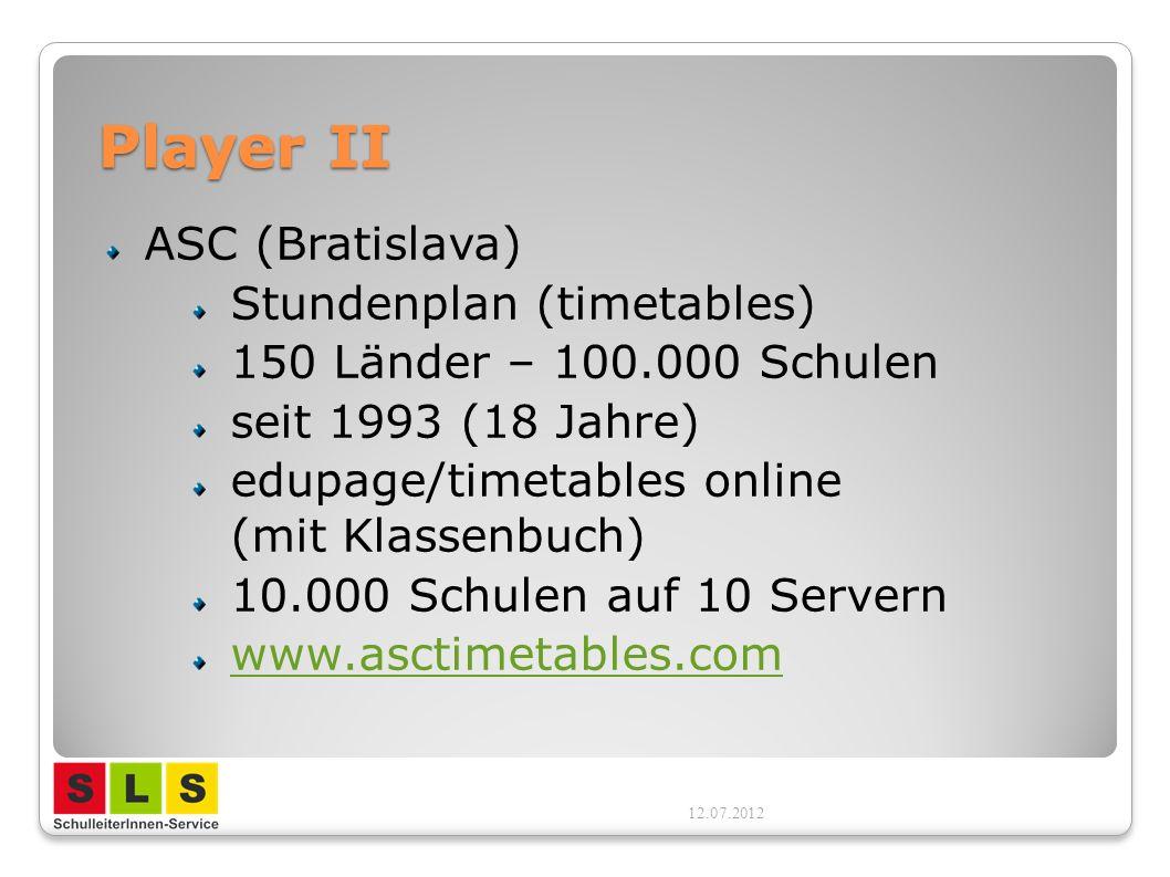 Player II ASC (Bratislava) Stundenplan (timetables) 150 Länder – 100.000 Schulen seit 1993 (18 Jahre) edupage/timetables online (mit Klassenbuch) 10.0