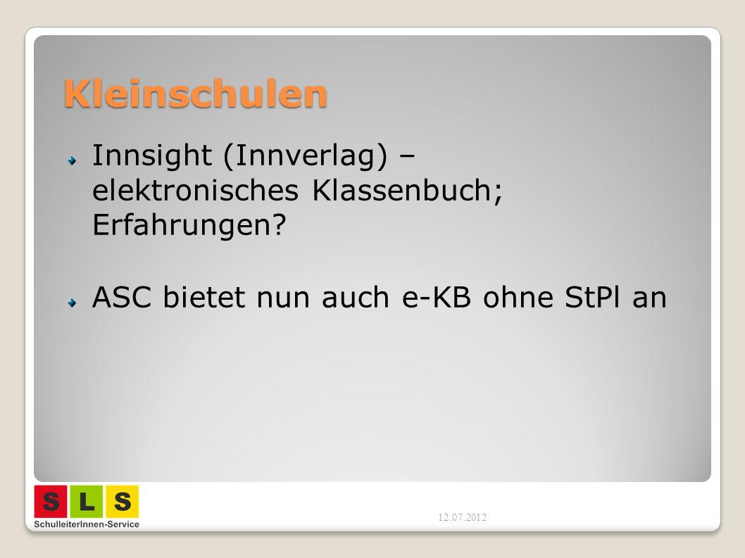 Kleinschulen Innsight (Innverlag) – elektronisches Klassenbuch; Erfahrungen? ASC bietet nun auch e-KB ohne StPl an 12.07.2012