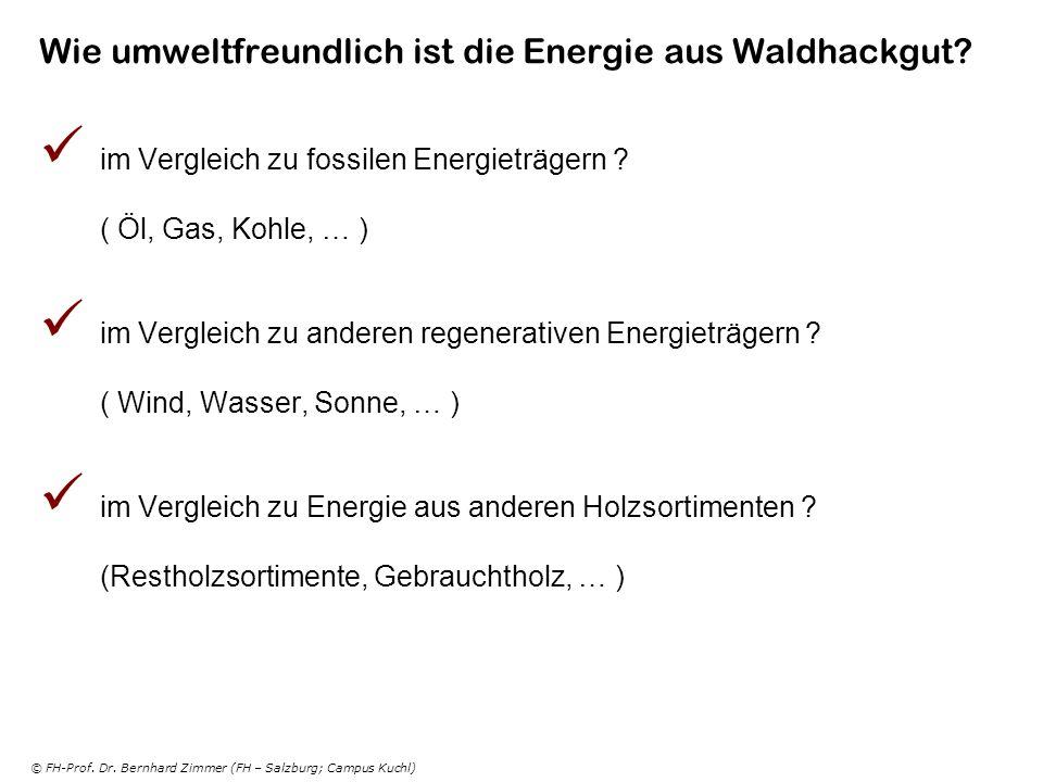 © FH-Prof. Dr. Bernhard Zimmer (FH – Salzburg; Campus Kuchl) Wie umweltfreundlich ist die Energie aus Waldhackgut? im Vergleich zu fossilen Energieträ