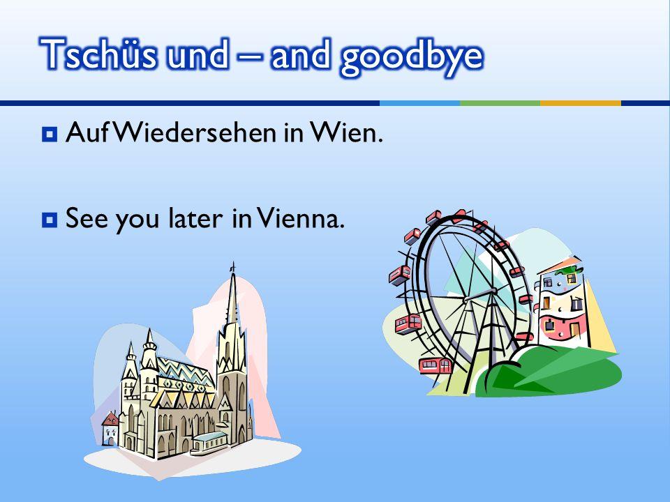 Auf Wiedersehen in Wien. See you later in Vienna.