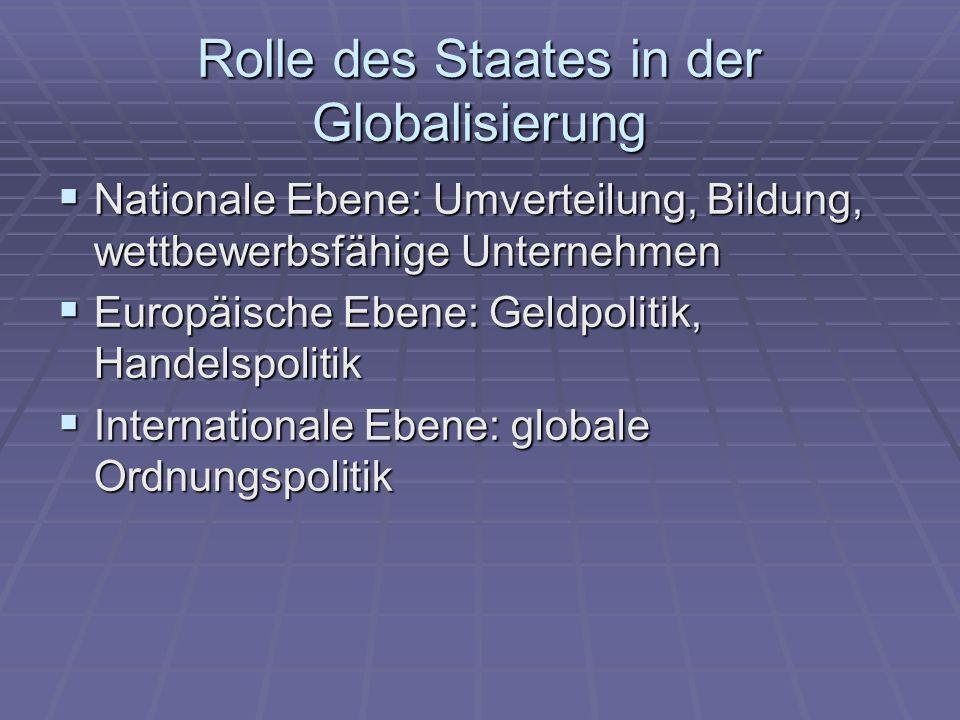 Rolle des Staates in der Globalisierung Nationale Ebene: Umverteilung, Bildung, wettbewerbsfähige Unternehmen Nationale Ebene: Umverteilung, Bildung,