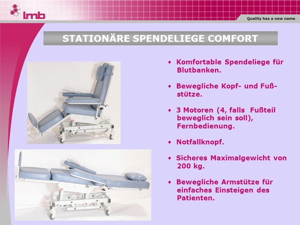 Komfortable Spendeliege für Blutbanken. Bewegliche Kopf- und Fuß- stütze. 3 Motoren (4, falls Fußteil beweglich sein soll), Fernbedienung. Notfallknop