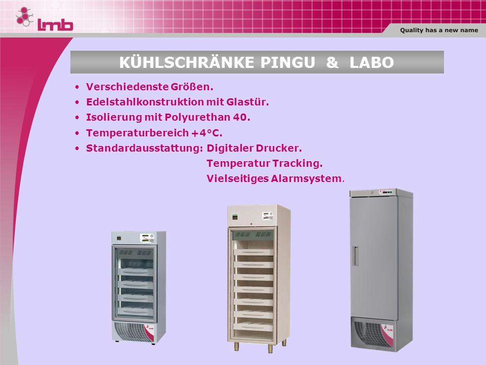 Digitaler Drucker. Temperatur Tracking. Vielseitiges Alarmsystem. Verschiedenste Größen. Edelstahlkonstruktion mit Glastür. Isolierung mit Polyurethan