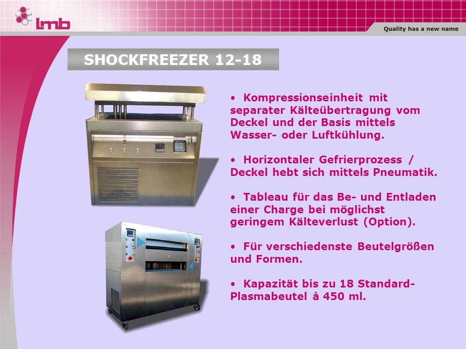 Kompressionseinheit mit separater Kälteübertragung vom Deckel und der Basis mittels Wasser- oder Luftkühlung. Horizontaler Gefrierprozess / Deckel heb