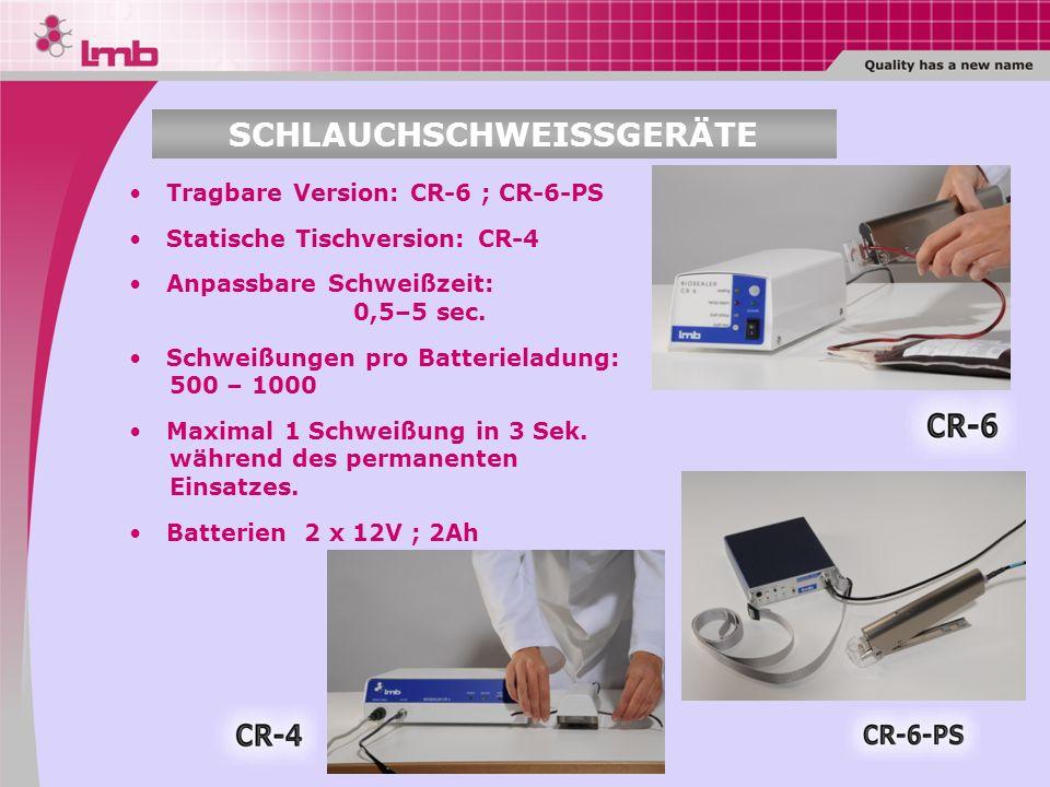 Tragbare Version: CR-6 ; CR-6-PS Statische Tischversion: CR-4 Anpassbare Schweißzeit: 0,5–5 sec. Schweißungen pro Batterieladung: 500 – 1000 Maximal 1
