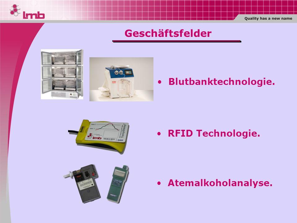 RFID Technologie. Atemalkoholanalyse. Blutbanktechnologie. Geschäftsfelder