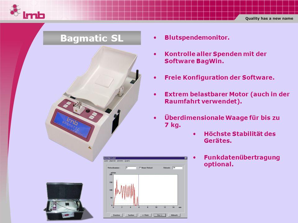 Blutspendemonitor. Kontrolle aller Spenden mit der Software BagWin. Freie Konfiguration der Software. Extrem belastbarer Motor (auch in der Raumfahrt