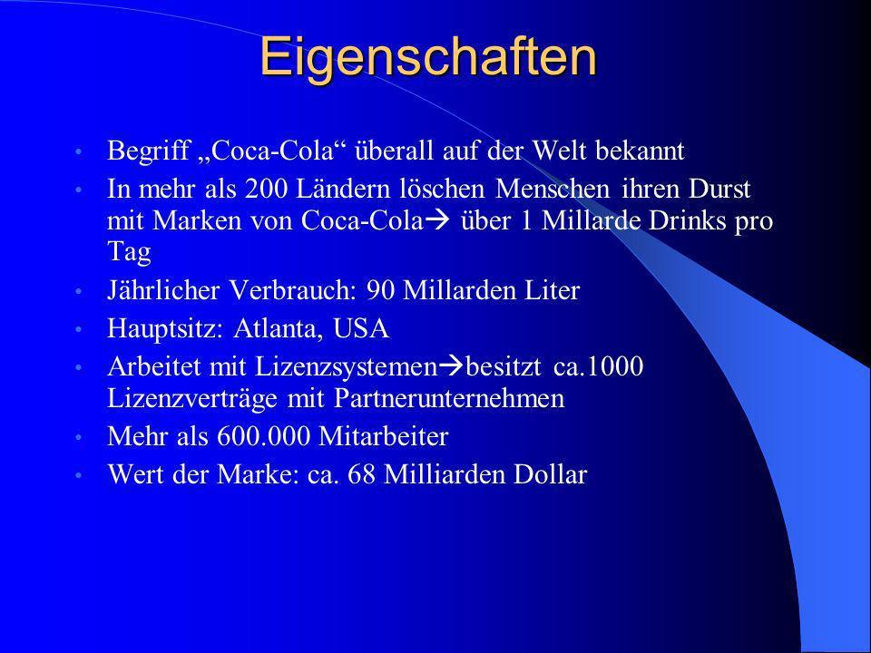 Eigenschaften Begriff Coca-Cola überall auf der Welt bekannt In mehr als 200 Ländern löschen Menschen ihren Durst mit Marken von Coca-Cola über 1 Mill