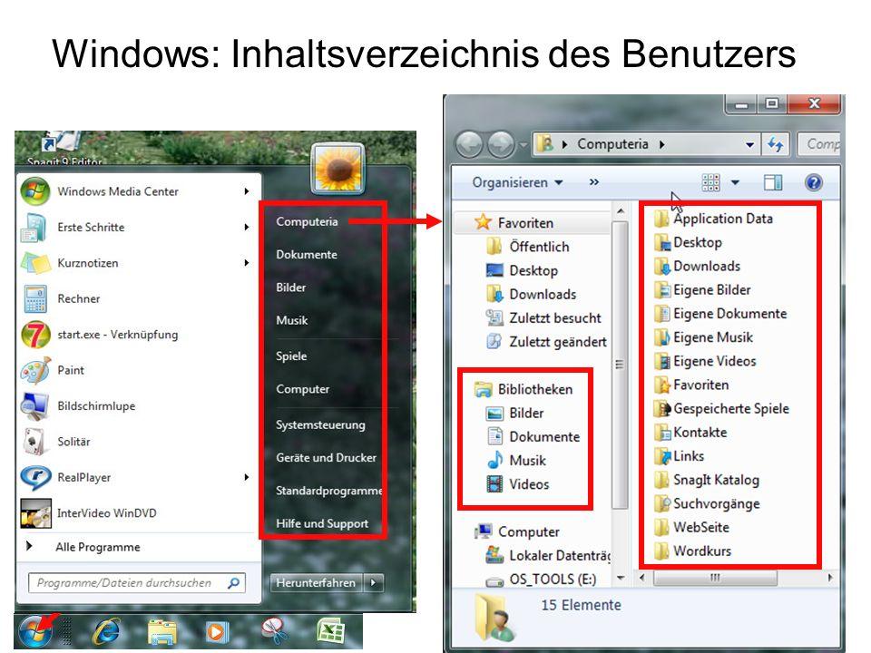 Windows: Inhaltsverzeichnis des Benutzers