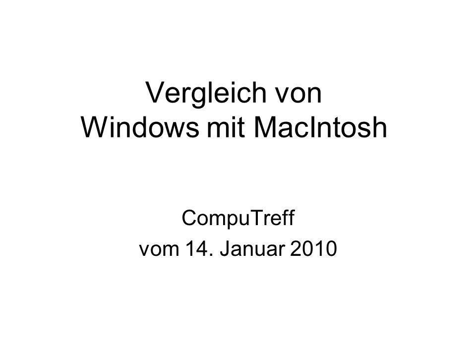 Vergleich von Windows mit MacIntosh CompuTreff vom 14. Januar 2010