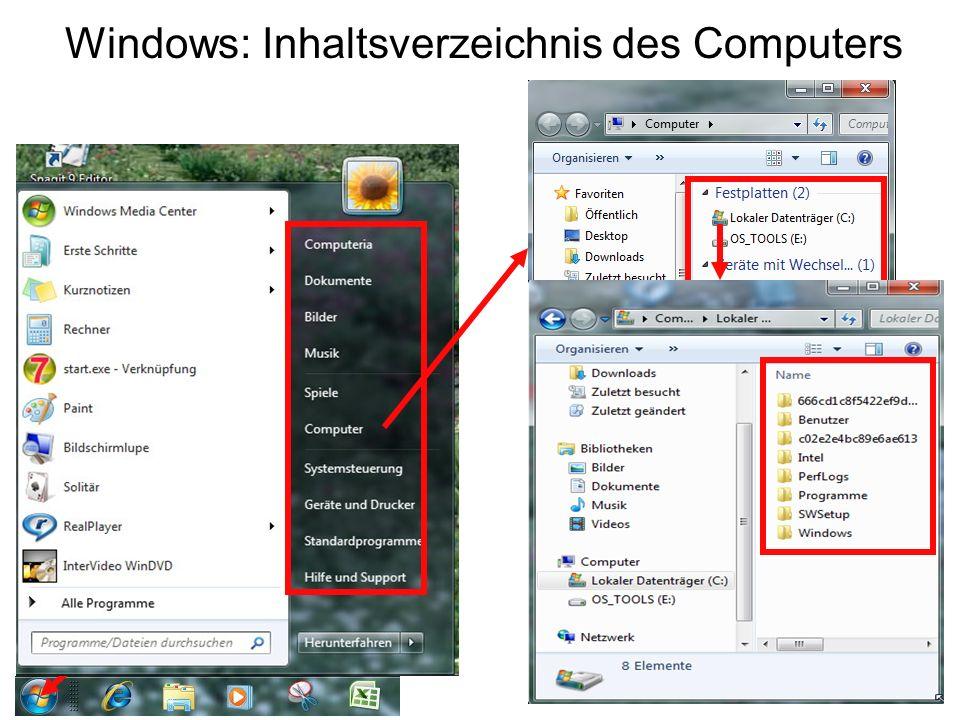 Windows: Inhaltsverzeichnis des Computers