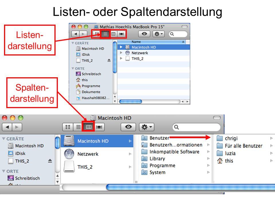 Listen- oder Spaltendarstellung Listen- darstellung Spalten- darstellung