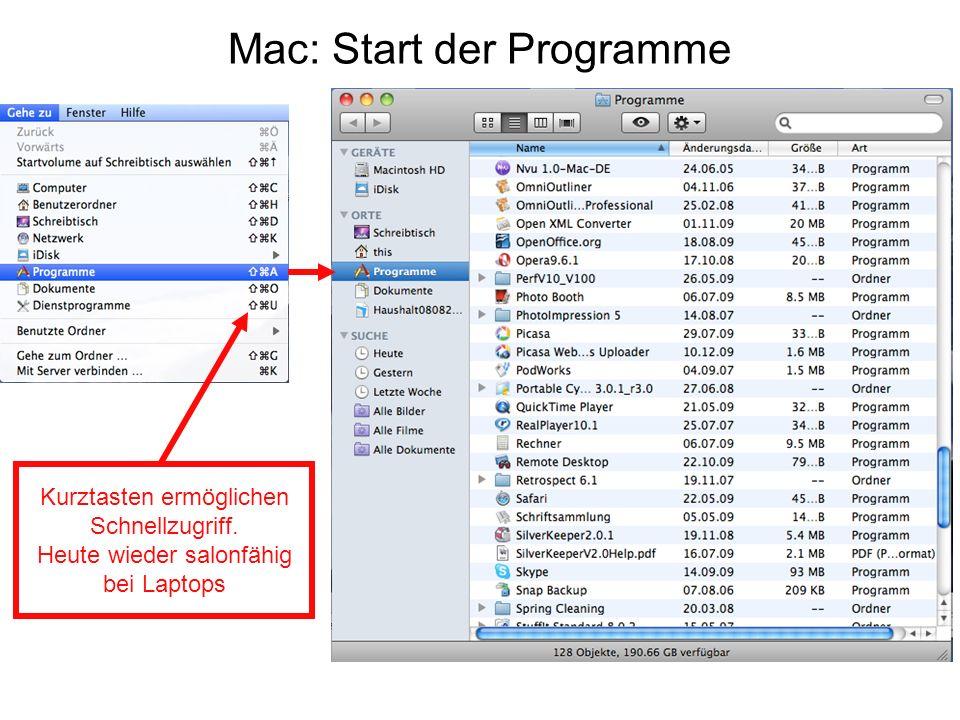 Mac: Start der Programme Kurztasten ermöglichen Schnellzugriff. Heute wieder salonfähig bei Laptops