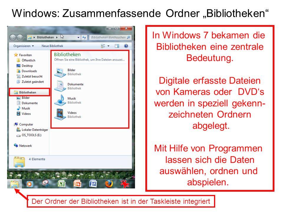 Windows: Zusammenfassende Ordner Bibliotheken Der Ordner der Bibliotheken ist in der Taskleiste integriert In Windows 7 bekamen die Bibliotheken eine