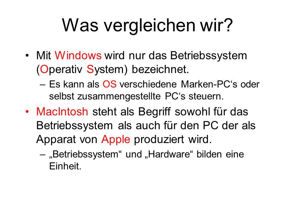 Was vergleichen wir? Mit Windows wird nur das Betriebssystem (Operativ System) bezeichnet. –Es kann als OS verschiedene Marken-PCs oder selbst zusamme