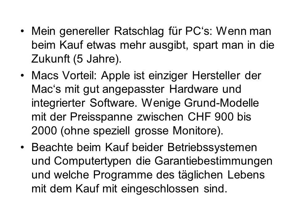 Kriterium Betriebssysteme Die Benützerfreundlichkeit hat sich mit Windows 7 und Mac OS 10.6 so sehr angeglichen, dass es sich nicht mehr lohnt zu streiten.