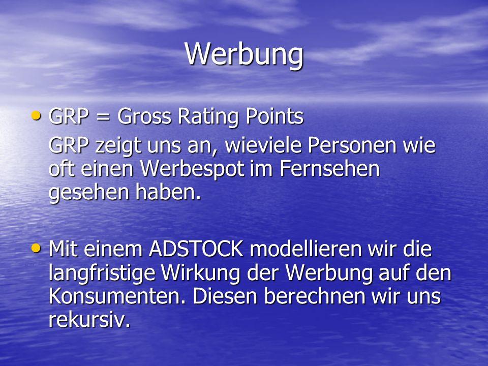 Werbung GRP = Gross Rating Points GRP = Gross Rating Points GRP zeigt uns an, wieviele Personen wie oft einen Werbespot im Fernsehen gesehen haben. Mi