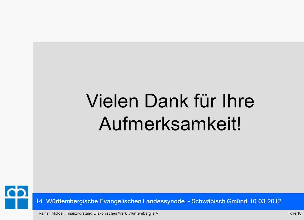 14. Württembergische Evangelischen Landessynode - Schwäbisch Gmünd 10.03.2012 Folie 16Rainer Middel, Finanzvorstand Diakonisches Werk Württemberg e.V.