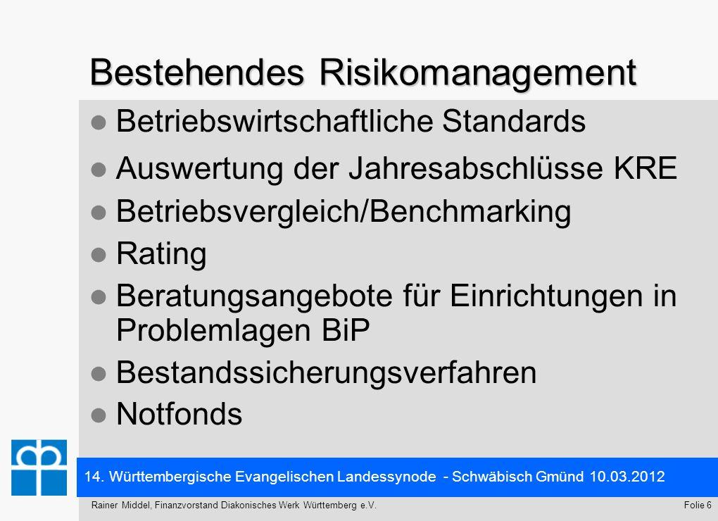 14. Württembergische Evangelischen Landessynode - Schwäbisch Gmünd 10.03.2012 Folie 6Rainer Middel, Finanzvorstand Diakonisches Werk Württemberg e.V.