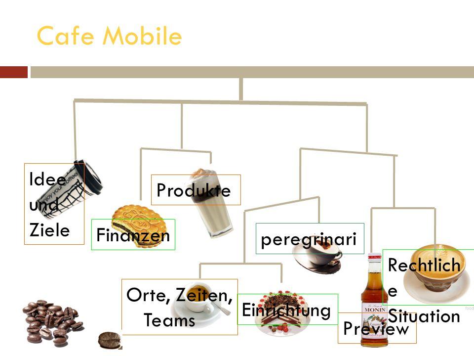 Cafe Mobile Idee und Ziele Finanzen Produkte peregrinari Preview Orte, Zeiten, Teams Einrichtung Rechtlich e Situation