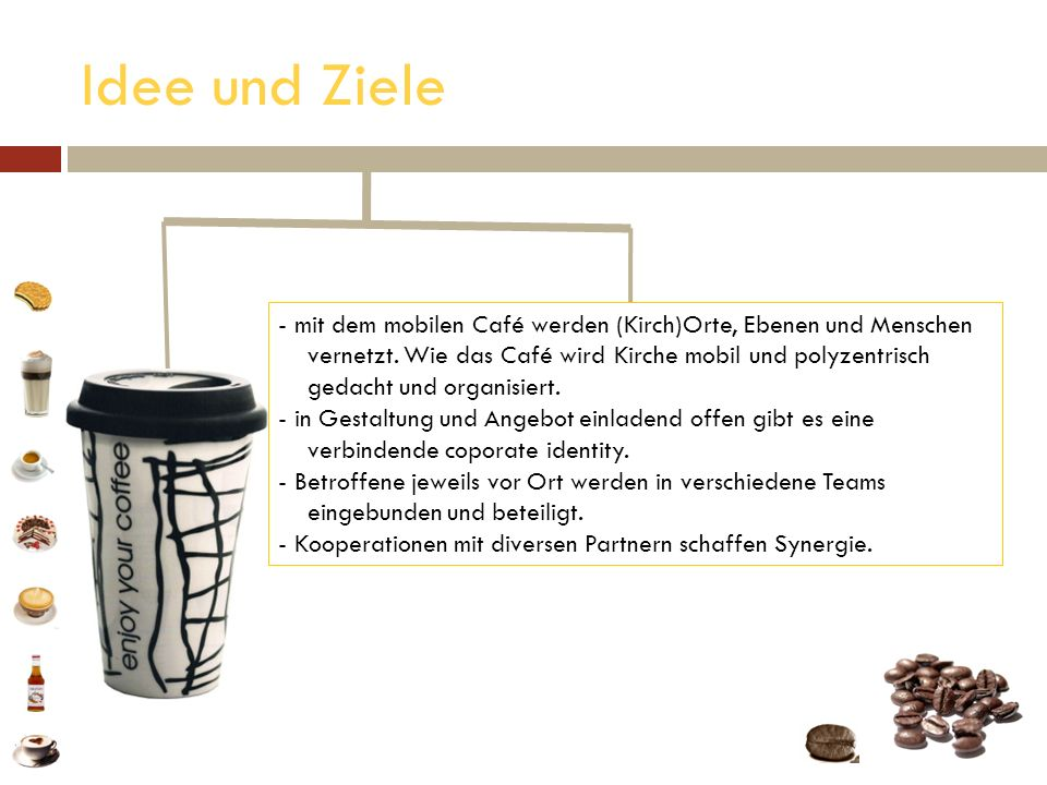 Idee und Ziele - mit dem mobilen Café werden (Kirch)Orte, Ebenen und Menschen mit dem mobilen Café werden (Kirch)Orte, Ebenen und Menschen vernetzt. W