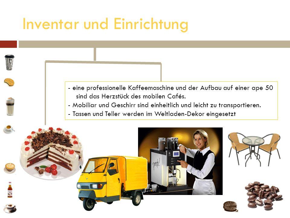 Inventar und Einrichtung - eine professionelle Kaffeemaschine und der Aufbau auf einer ape 50 eine professionelle Kaffeemaschine und der Aufbau auf ei