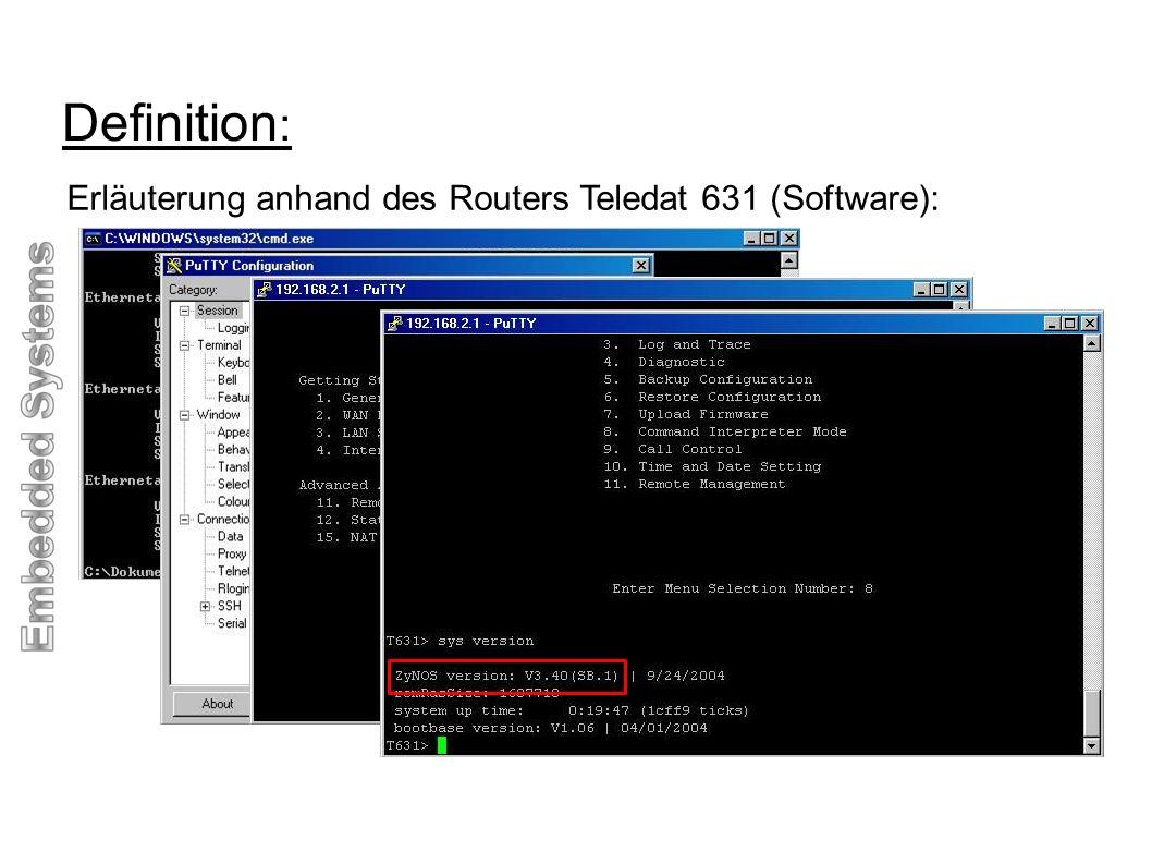Rahmenbedingungen : Embedded Systeme führen eine Funktion wiederholt aus (Routingentscheidungen des Teledat).