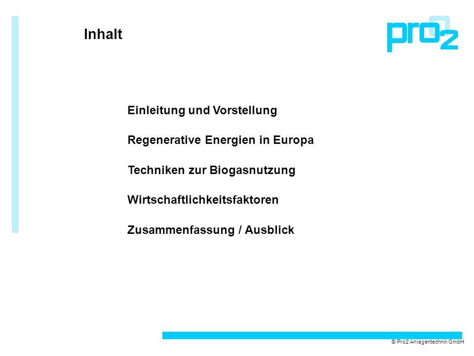 Inhalt © Pro2 Anlagentechnik GmbH Einleitung und Vorstellung Regenerative Energien in Europa Techniken zur Biogasnutzung Wirtschaftlichkeitsfaktoren Z