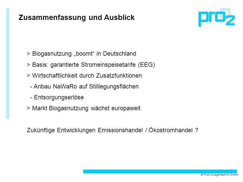 Zusammenfassung und Ausblick © Pro2 Anlagentechnik GmbH > Biogasnutzung boomt in Deutschland > Basis: garantierte Stromeinspeisetarife (EEG) > Wirtsch