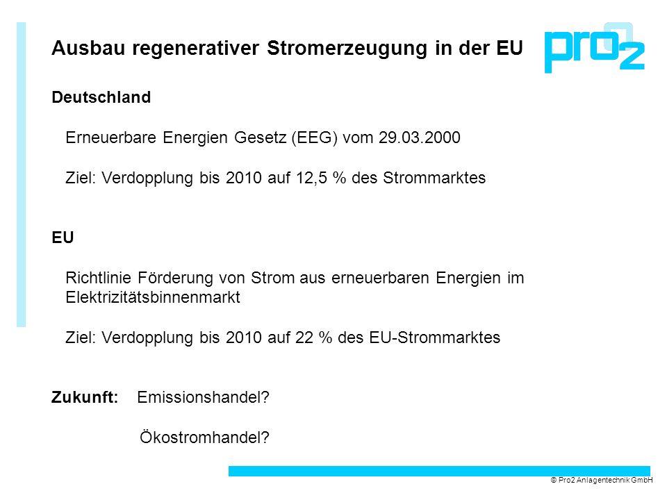 Ausbau regenerativer Stromerzeugung in der EU © Pro2 Anlagentechnik GmbH Deutschland Erneuerbare Energien Gesetz (EEG) vom 29.03.2000 Ziel: Verdopplun