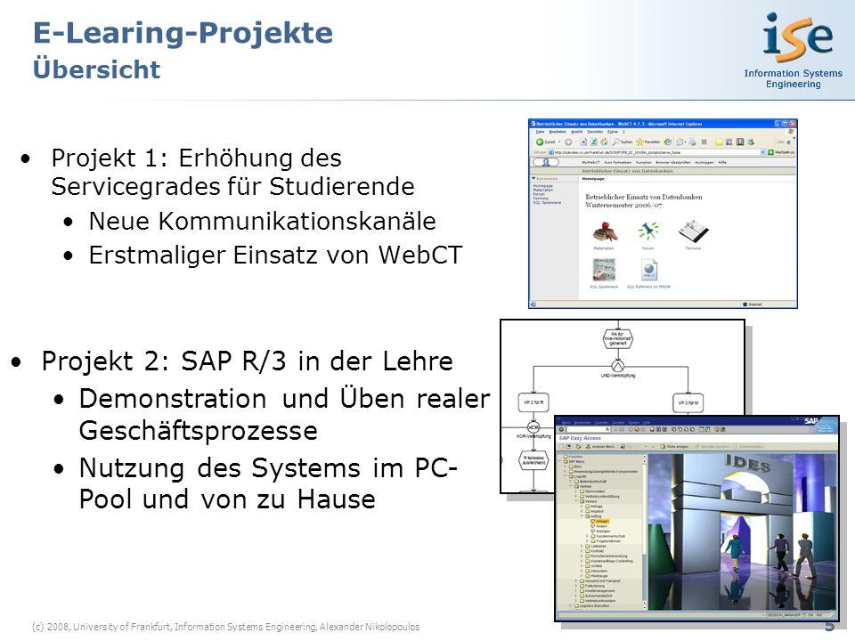 6 (c) 2008, University of Frankfurt, Information Systems Engineering, Alexander Nikolopoulos Projekt 3: SQL & Python Spielwiesen Individuelle web-basierte Übungsmöglichkeiten Nutzung ohne Installation der Systeme bei den Studierenden Projekt 4: Registrierungsskript Einteilung der Tutorien Seminarzuteilung etc.