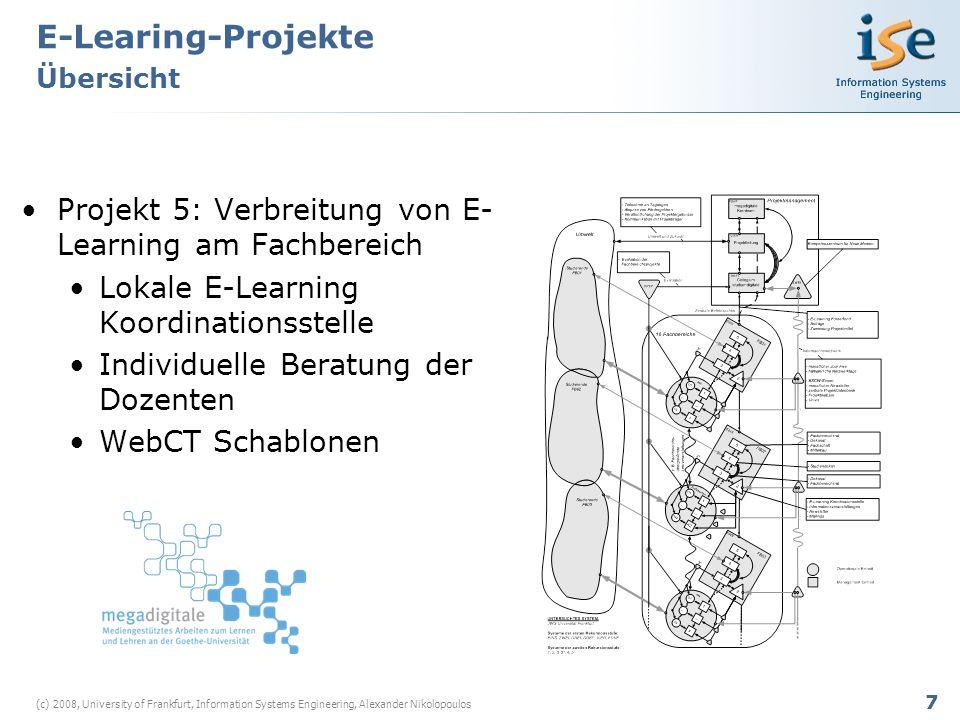 8 (c) 2008, University of Frankfurt, Information Systems Engineering, Alexander Nikolopoulos E-Learning-Projekte Beobachtungen & Eckpunkte Projekt 1Projekt 2Projekt 3Projekt 4Projekt 5 Projekt Beginn2004/052005/06 2006/07 Projekt Dauer12 Monate 6 Monate 15 Monate Projekt ZieleErhöhung der Betreuungs- intensität Einführung von SAP R/3 Ermöglichung individueller Übungen Unterstützung der Registrierungsp rozesse Verbreitung der neuen Angebote am Fachbereich Beteiligte Akteure 257517 Ungefährer Arbeitsaufwand 35 Manntage30 Manntage 10 Manntage45 Manntage