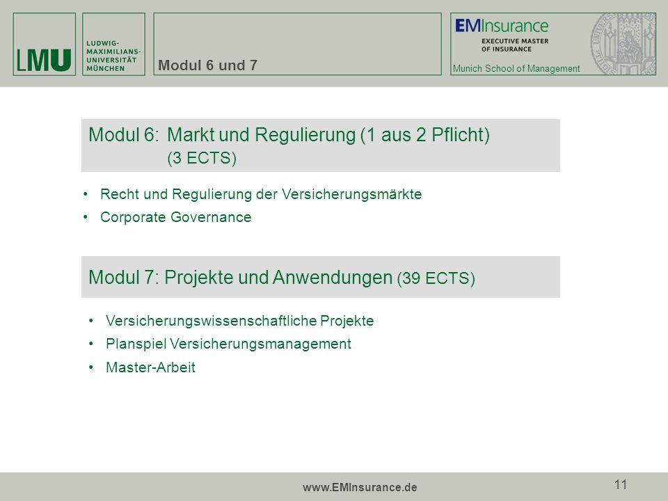 Munich School of Management www.EMInsurance.de 11 Modul 6 und 7 Modul 6:Markt und Regulierung (1 aus 2 Pflicht) (3 ECTS) Recht und Regulierung der Ver