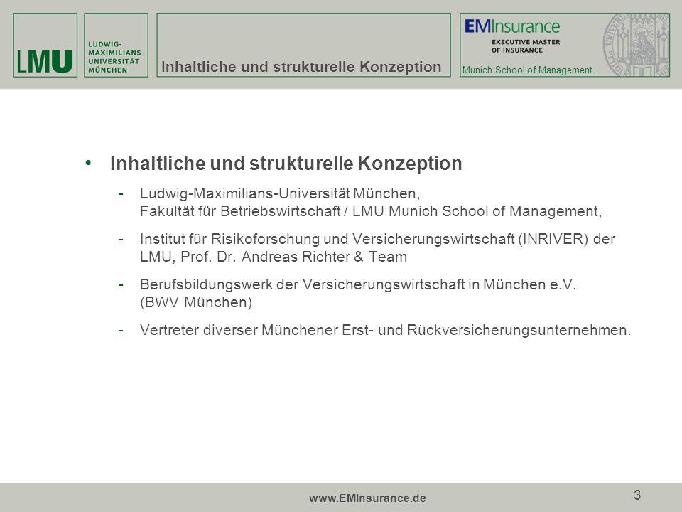 Munich School of Management www.EMInsurance.de 14 Abschluss und Kosten Akademischer Grad -Executive Master of Insurance (E.M.