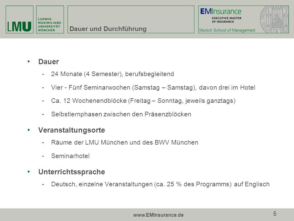 Munich School of Management www.EMInsurance.de 6 Struktur und Inhalt Davon fakultativ Leistungspunkte gemäß European Credit Transfer System (ECTS) 90 ECTS Workload2.880 UE180 UE Contact hours524 UE56 UE Selbststudium inkl.