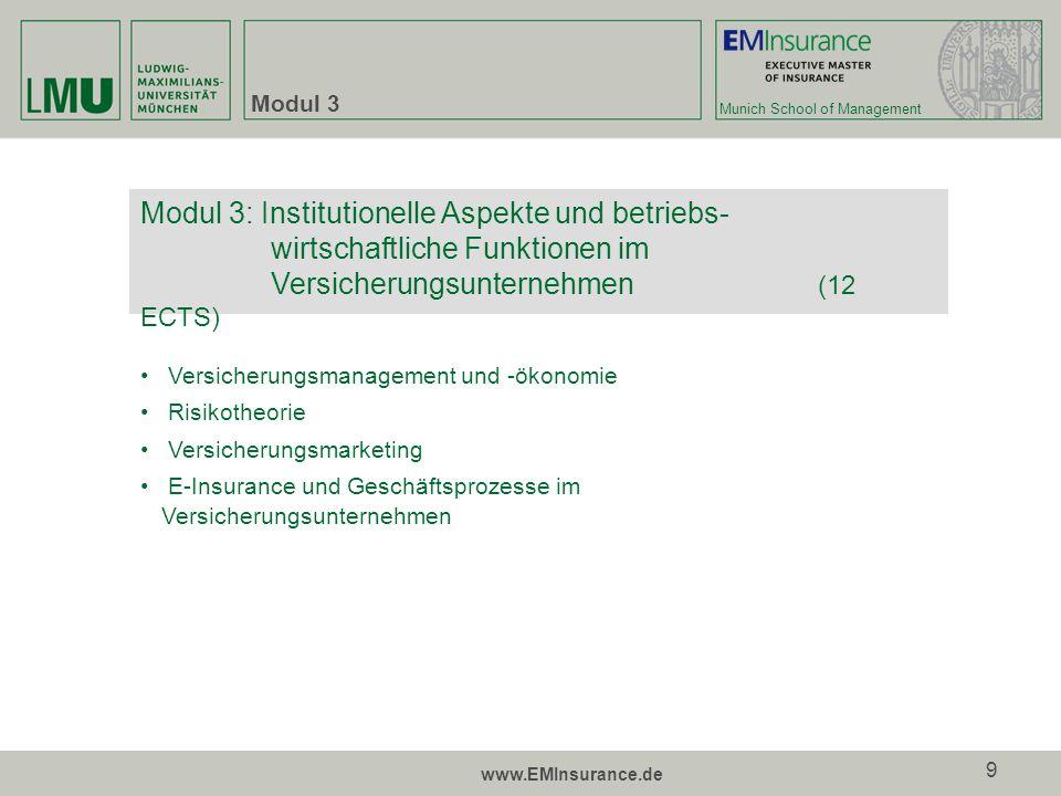 Munich School of Management www.EMInsurance.de 10 Modul 4 und 5 Unternehmensbewertung Corporate Finance Controlling Modul 5:Finanzmanagement und Rechnungslegung II (18 ECTS) Rechnungslegung im Versicherungsunternehmen inkl.