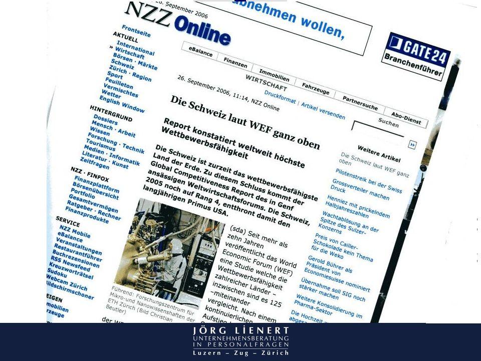 Brüche in der Biographie – Umgang mit Brüchen bei der Personalselektion, 26. Oktober 2006 Abbildung NZZ. Schweiz Wettbewerbsführend