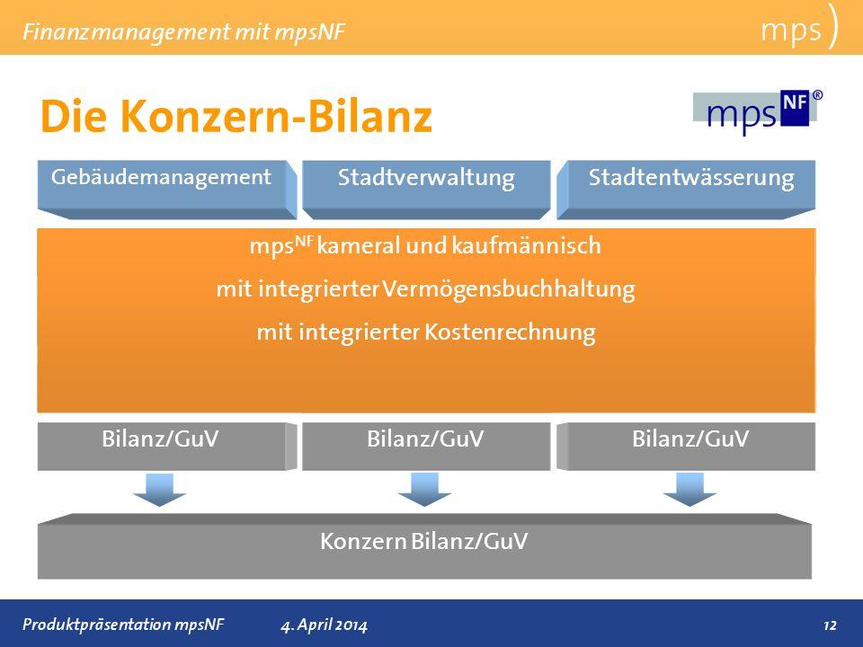 Präsentationstitel 4. April 2014 Die Konzern-Bilanz mps ) Finanzmanagement mit mpsNF 12 Anlagenbuchhaltung Gebäudemanagement Anlagenbuchhaltung Kosten