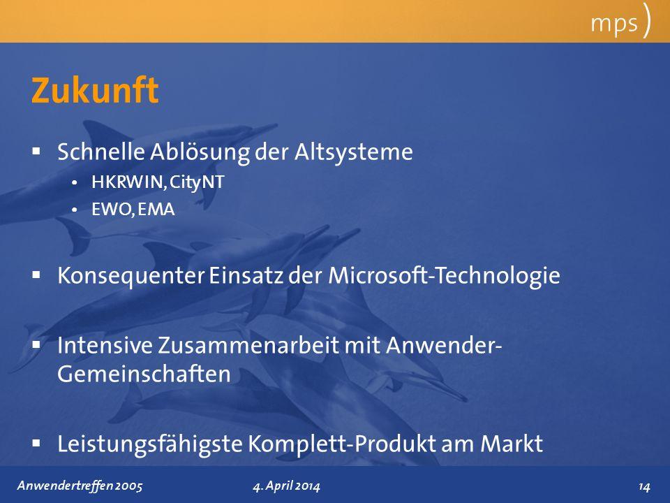 Präsentationstitel 4. April 2014 Zukunft mps ) Schnelle Ablösung der Altsysteme HKRWIN, CityNT EWO, EMA Konsequenter Einsatz der Microsoft-Technologie