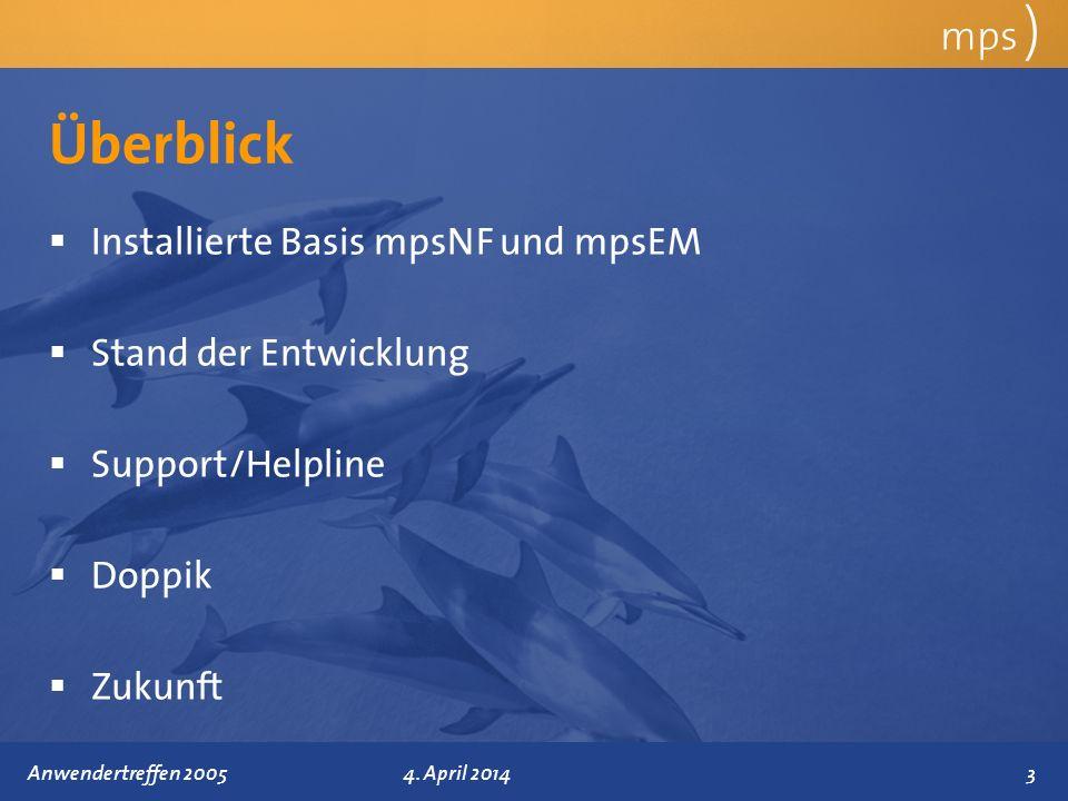 Präsentationstitel 4. April 2014 Überblick mps ) Installierte Basis mpsNF und mpsEM Stand der Entwicklung Support/Helpline Doppik Zukunft 3Anwendertre