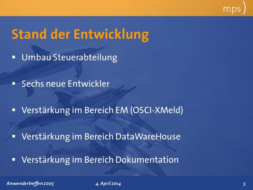 Präsentationstitel 4. April 2014 Stand der Entwicklung mps ) Umbau Steuerabteilung Sechs neue Entwickler Verstärkung im Bereich EM (OSCI-XMeld) Verstä