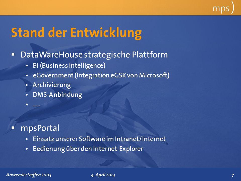 Präsentationstitel 4. April 2014 Stand der Entwicklung mps ) DataWareHouse strategische Plattform BI (Business Intelligence) eGovernment (Integration