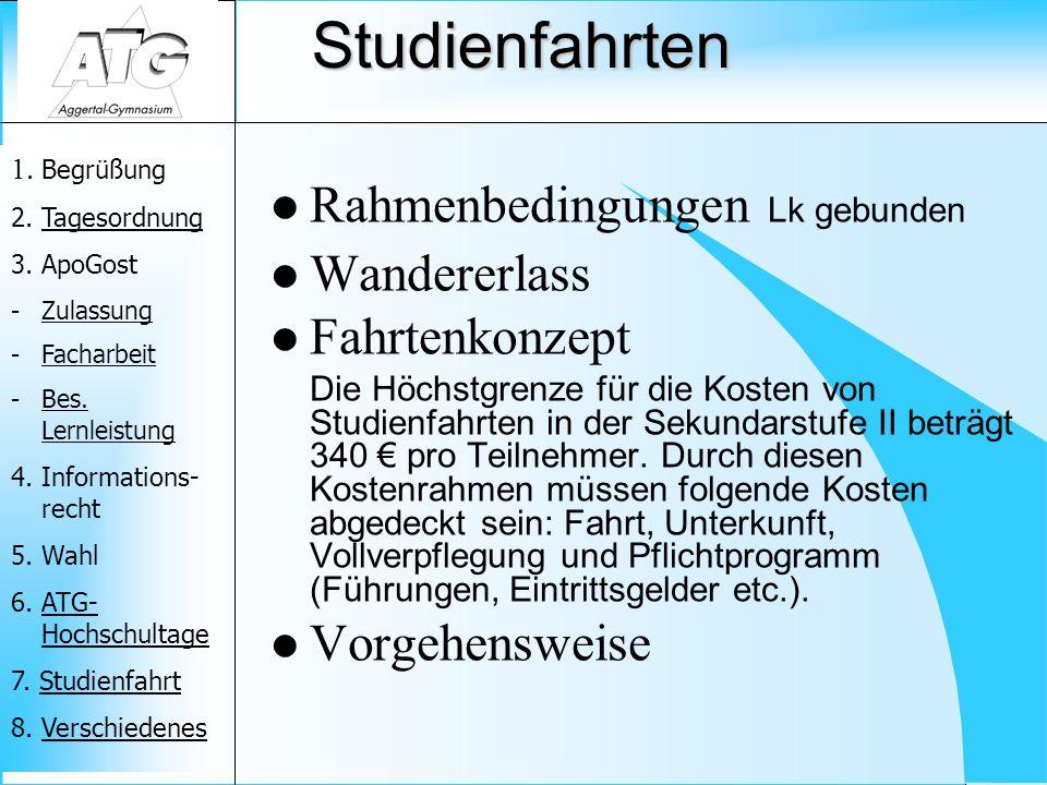 1.Begrüßung 2. TagesordnungTagesordnung 3. ApoGost -ZulassungZulassung -FacharbeitFacharbeit -Bes.