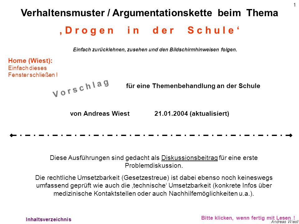1 Andreas Wiest Verhaltensmuster / Argumentationskette beim Thema für eine Themenbehandlung an der Schule von Andreas Wiest21.01.2004 (aktualisiert) D r o g e n i n d e r S c h u l e Diese Ausführungen sind gedacht als Diskussionsbeitrag für eine erste Problemdiskussion.